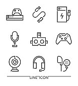 Gaming Accessories thin line vector