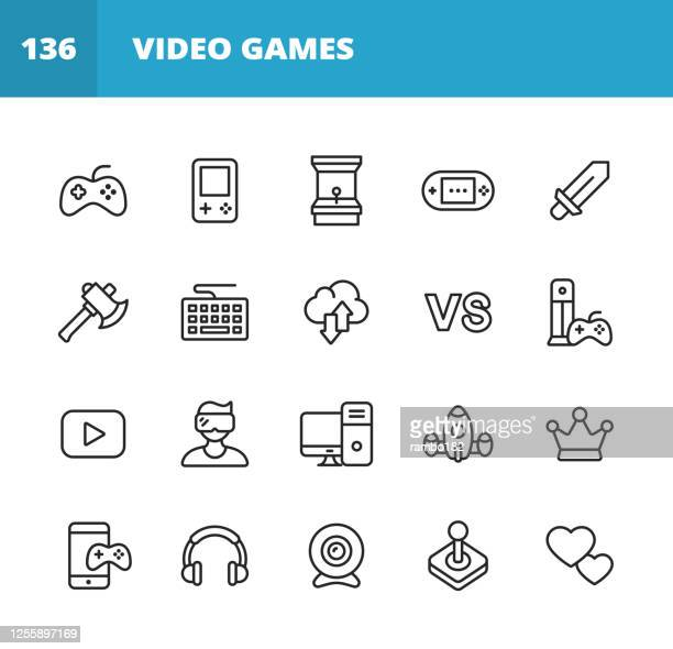 gaming and video games line icons. editable stroke. pixel perfect. for mobile and web. contains such icons as video game, mobile game, device, gaming console, rpg, virtual reality, shooter, keyboard, mouse, computer, tablet, multiplayer, streaming. - esports stock illustrations