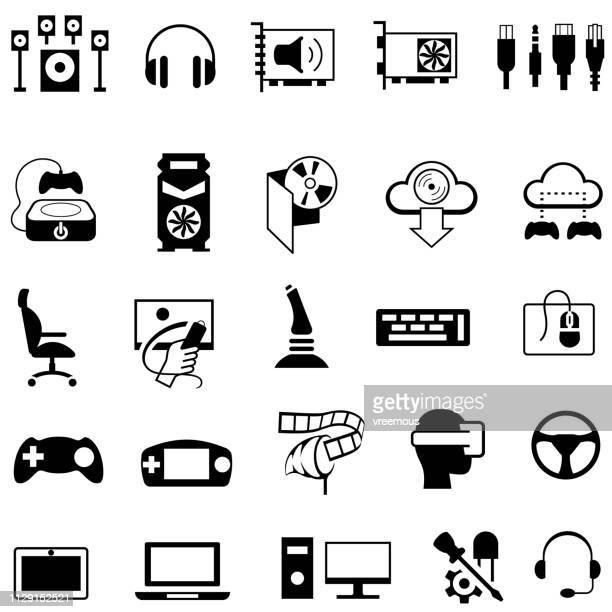 gaming hardware equipment icons - audio equipment stock illustrations, clip art, cartoons, & icons
