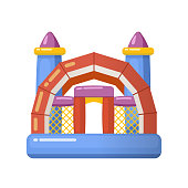 Gaming inflatable complex for kids having fun on inflatable playground