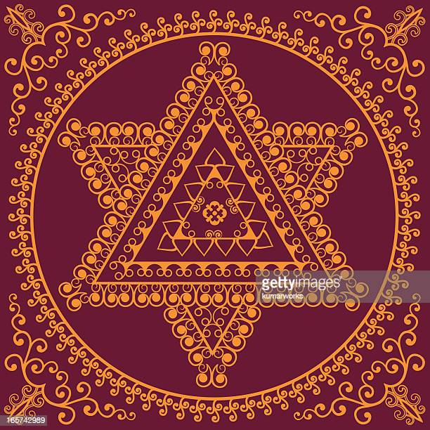 ganapathi mandala - hindu god stock illustrations