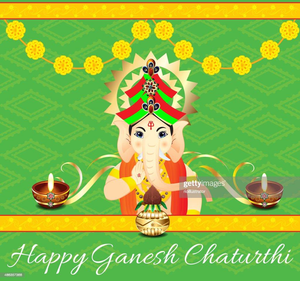 Ganesha Chaturthi Celebration Background With Flower