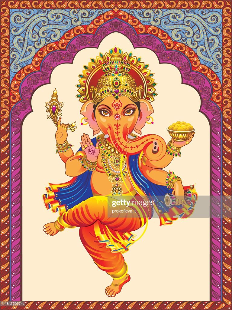 Ganesha on a background pattern ornamented arches.
