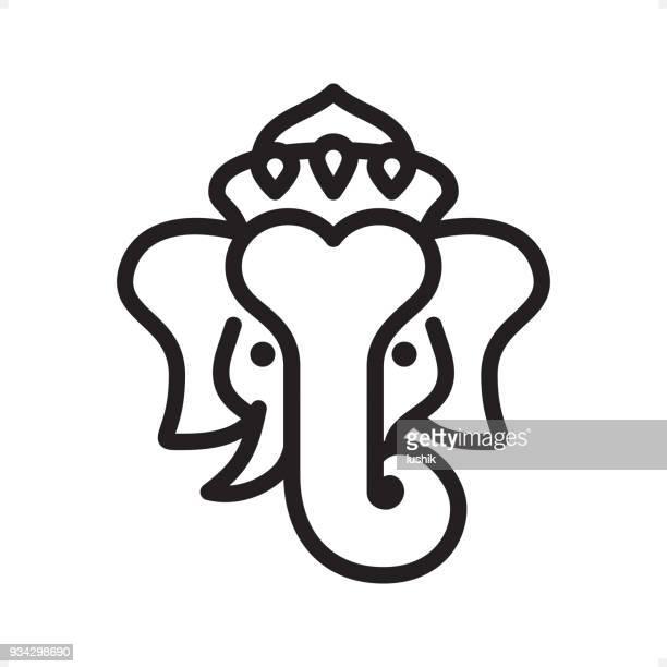 ganesha - outline icon - pixel perfect - ganesha stock illustrations