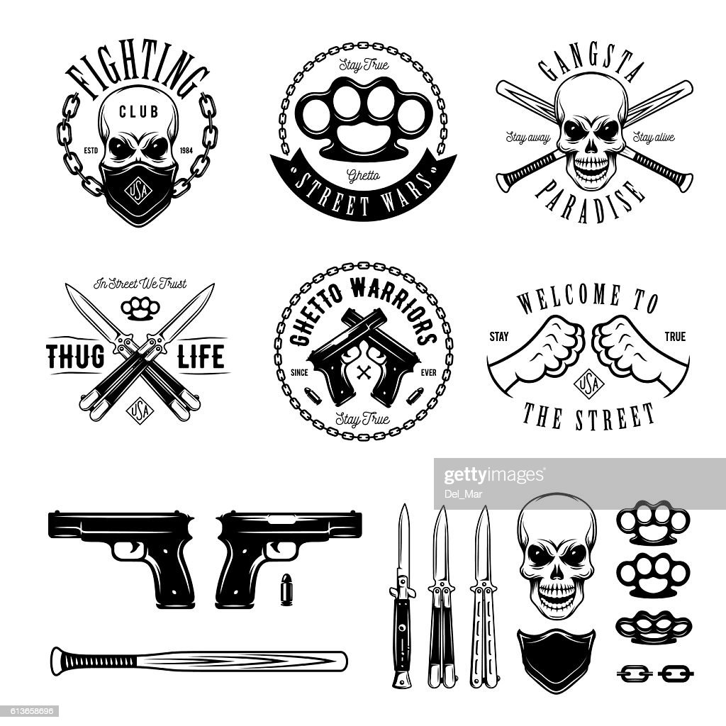 Gangster monochrome labels badges emblems and design elements set. Vintage