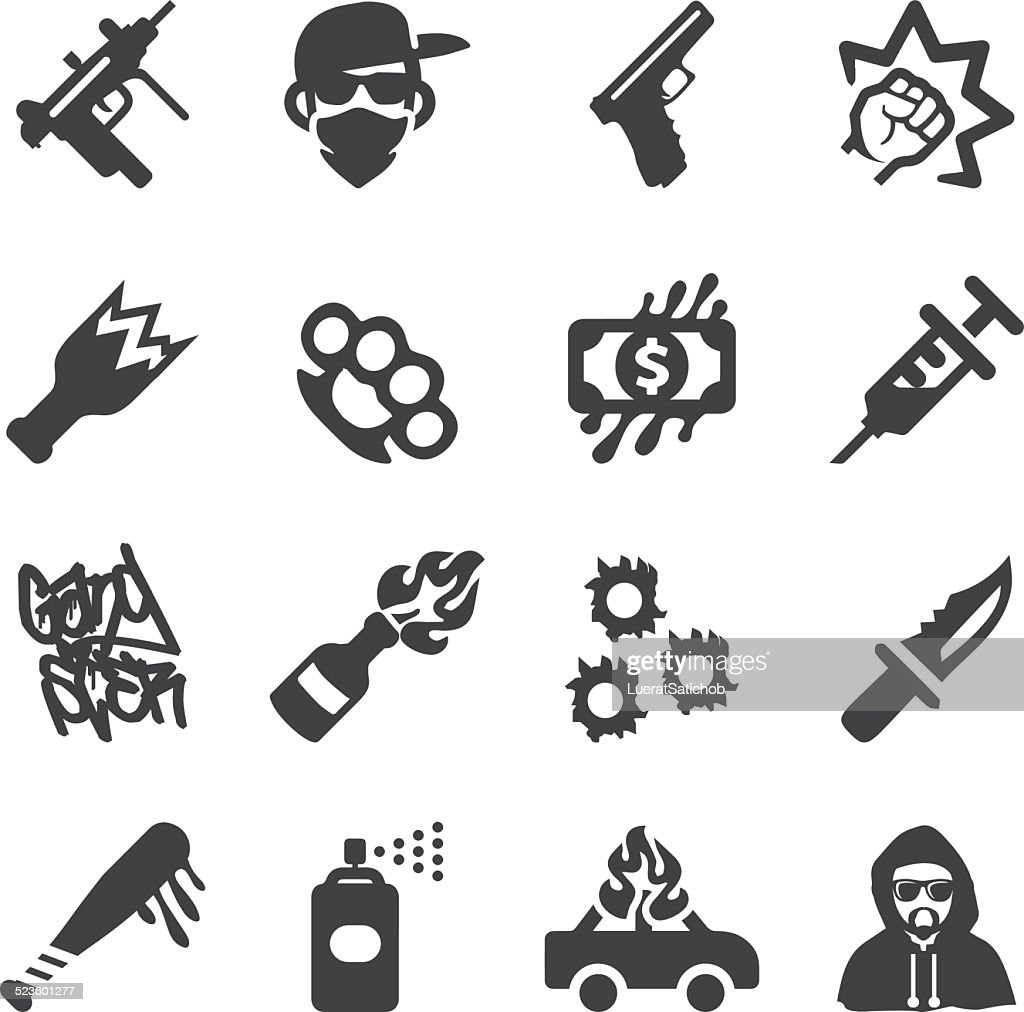 Gangster Silhouette icons   EPS10
