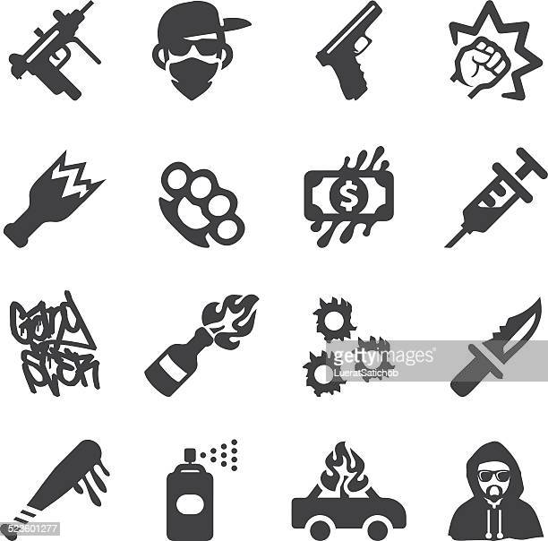 gangster silhouette icons | eps10 - modern rock stock illustrations