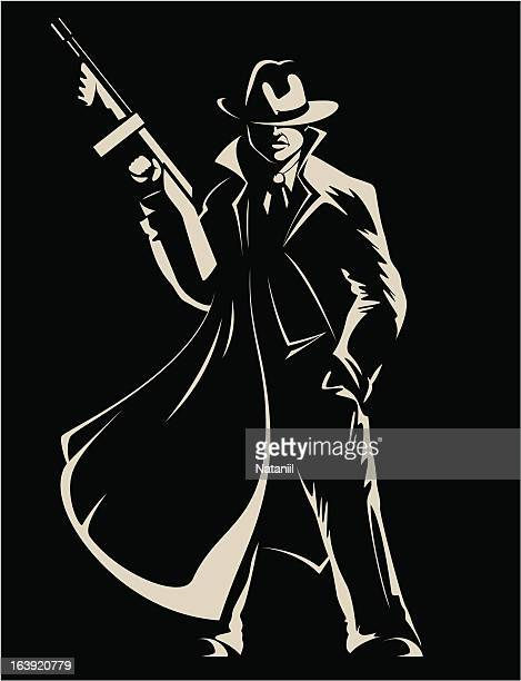 gangster - submachine gun stock illustrations, clip art, cartoons, & icons