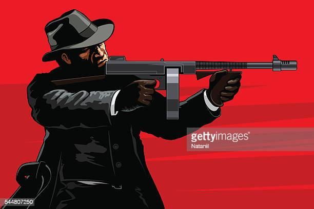 ilustraciones, imágenes clip art, dibujos animados e iconos de stock de gánster  - submachine gun