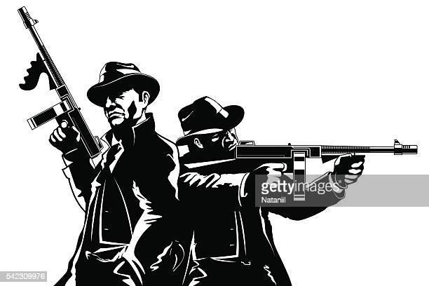ilustraciones, imágenes clip art, dibujos animados e iconos de stock de gangsters - submachine gun