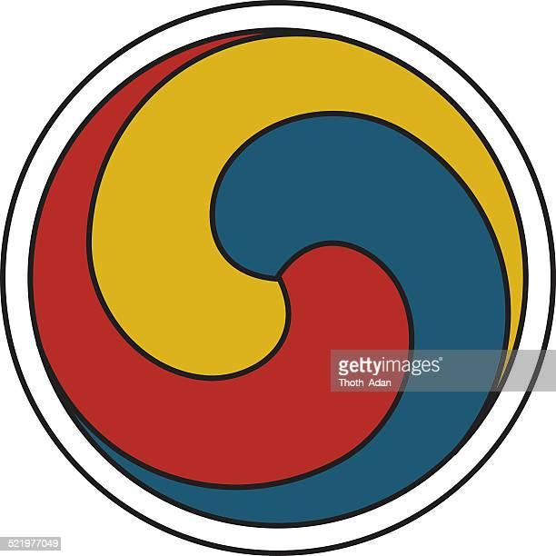 ilustraciones, imágenes clip art, dibujos animados e iconos de stock de gankyil – rueda de alegría (tibetano, budista símbolo) - cultura coreana