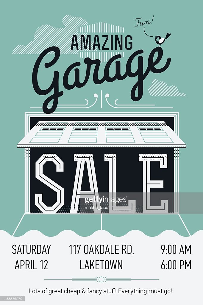 Garage Or Yard Sale Poster Template Vector Art | Getty Images