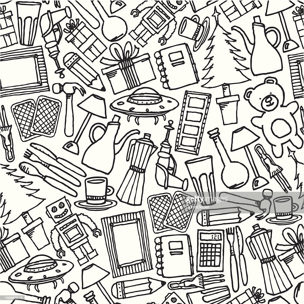 Garage sale seamless pattern / Objects background
