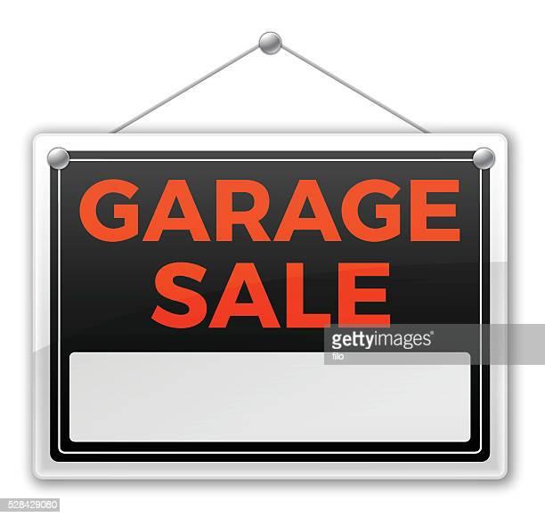 ilustraciones, imágenes clip art, dibujos animados e iconos de stock de señal de venta de garaje - venta de garaje