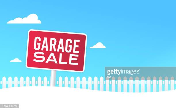 ilustraciones, imágenes clip art, dibujos animados e iconos de stock de venta de garage yard sign - venta de garaje