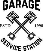 Garage. Service station. Emblem with crossed pistons. Car repair. Design element for label, emblem, sign.