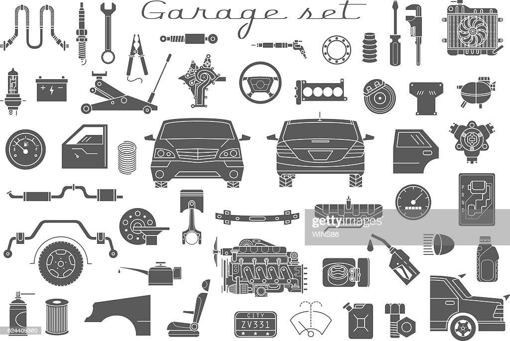 Garage. Vector car parts set outline details. Isolated