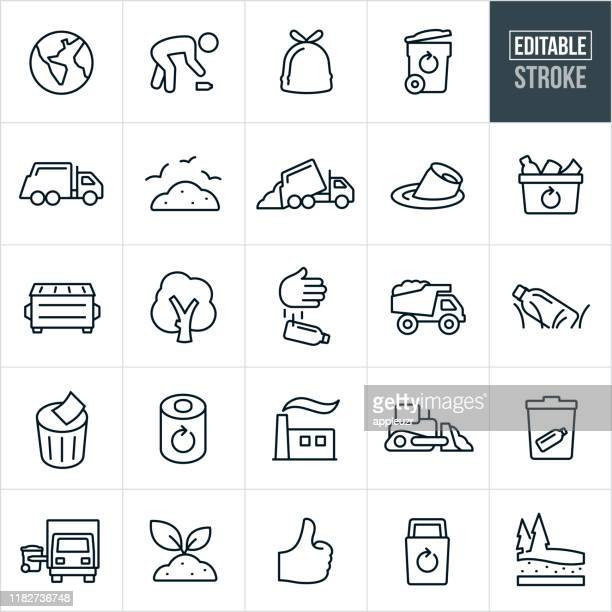 garbage and recycle thin line icons - editable stroke - water pollution stock illustrations