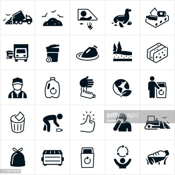 garbage and recycling icons - one man only stock illustrations