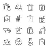 Garbage and recycling icons