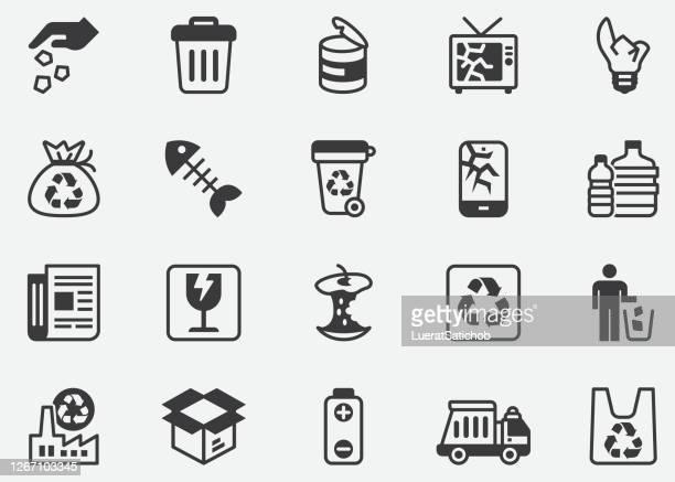ごみとリサイクルピクセルパーフェクトアイコン - ゴミ捨て場点のイラスト素材/クリップアート素材/マンガ素材/アイコン素材