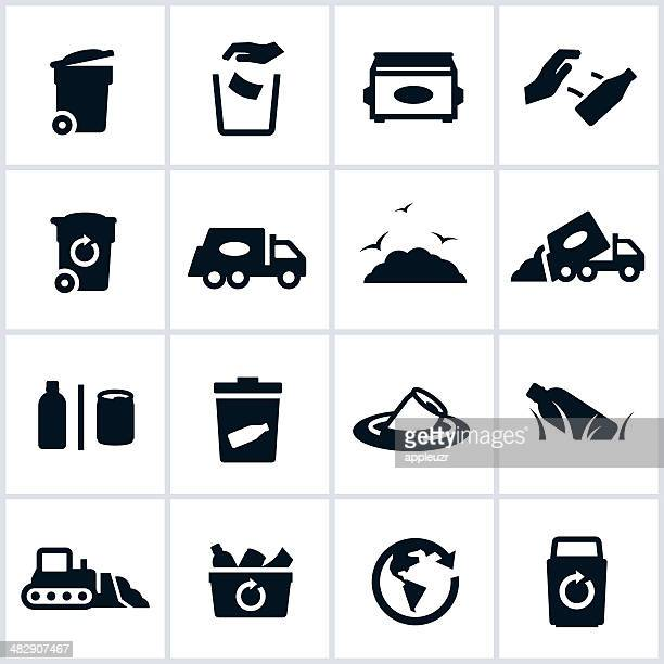 garbage and waste management icons - garbage bin stock illustrations
