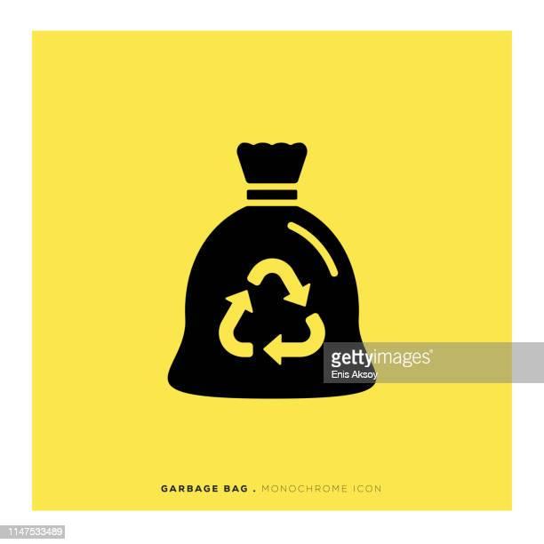müllbeutel monochrome icon - gelb stock-grafiken, -clipart, -cartoons und -symbole
