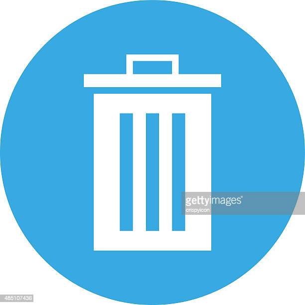 Garbage Can icon on a round button.