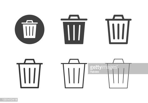 garbage can icons - multi series - garbage bin stock illustrations