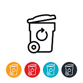 Garbage Can With Recycle Symbol Icon