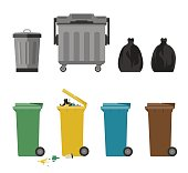 Garbage cans flat icons