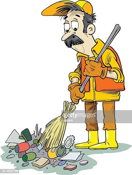 ilustrações de stock, clip art, desenhos animados e ícones de contentor de lixo - gari