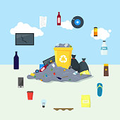 Garbage Dump or Landfill Card Poster. Vector