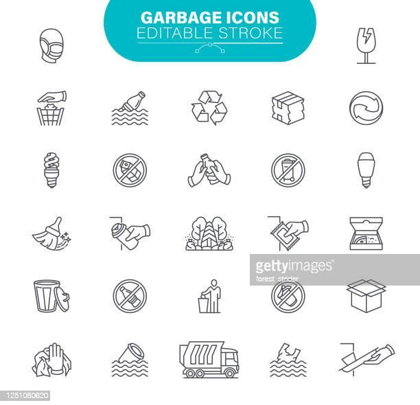 stockillustraties, clipart, cartoons en iconen met garbage iconen. set bevat een pictogram als pakket, recycle, organisch afval, plastic, aluminium can, illustratie - watervervuiling