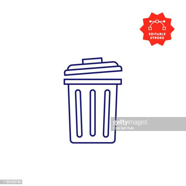 garbage line icon with editable stroke and pixel perfect. - garbage can stock illustrations