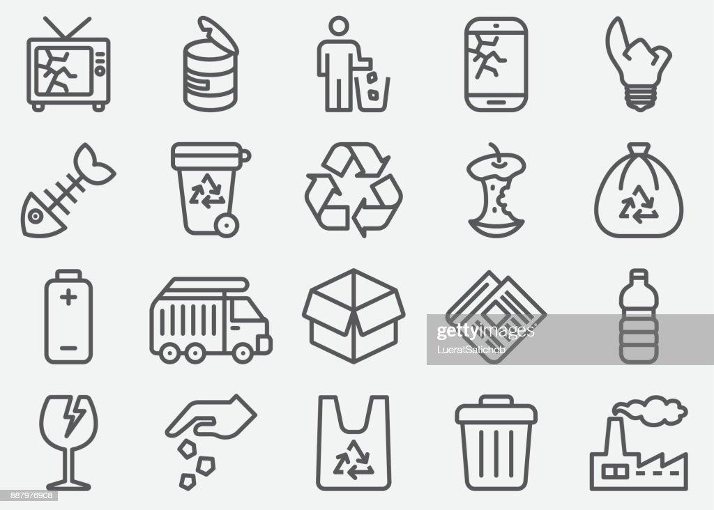 Linha de lixo ícones : Ilustração