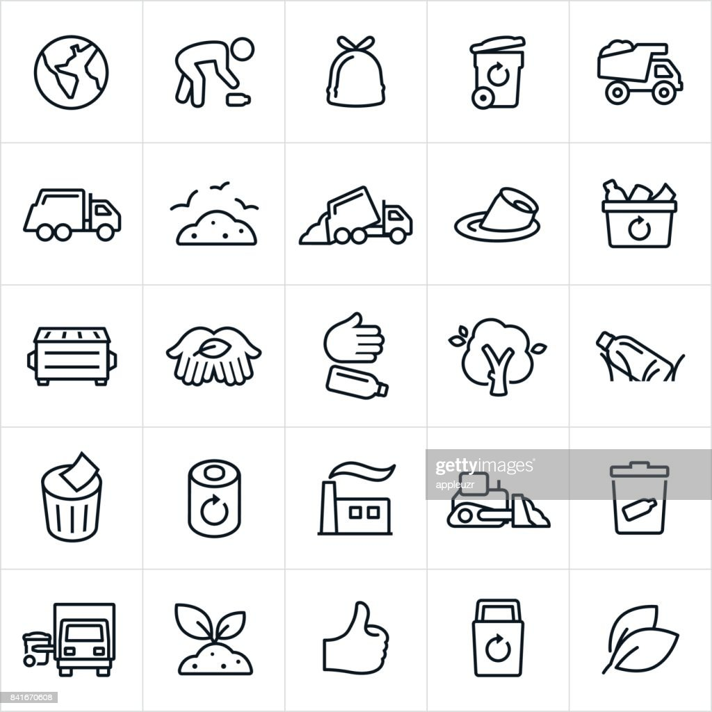 Garbage Management and Recycling Icons