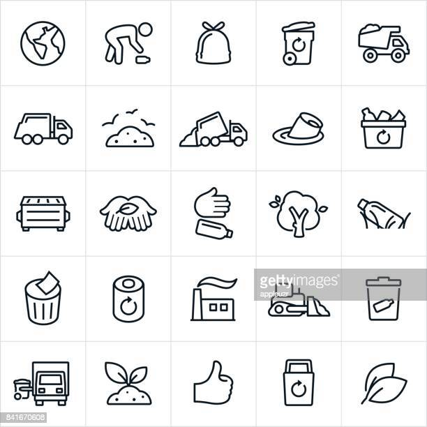 garbage management and recycling icons - pollution stock illustrations