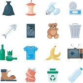 Garbage set vector cartoon illustration
