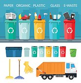 Garbage sorting bins infographic recycling concept ship the trash Ecology city flat background of set