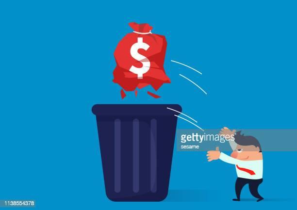 ilustraciones, imágenes clip art, dibujos animados e iconos de stock de basura, el comerciante arroja la bolsa rota a la papelera - tirar basura
