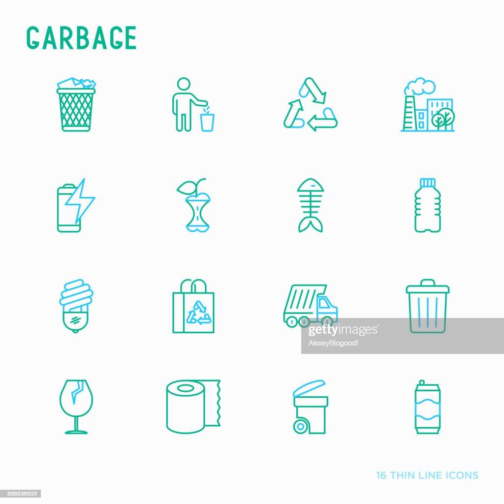 Garbage thin line icons set: garbage bin, organic trash, garbage truck, glass, recycled paper, aluminium, battery, plastic bottle. Modern vector illustration.