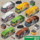 Garbage Truck 01 Vehicle Isometric