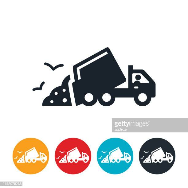 garbage truck icon - garbage truck stock illustrations