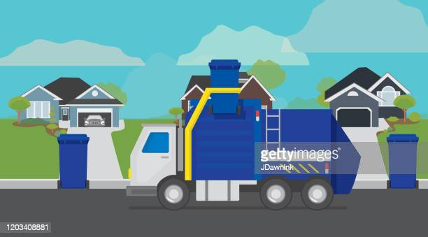 garbage truck lifting garbage can on a residential suburban street - garbage truck stock illustrations