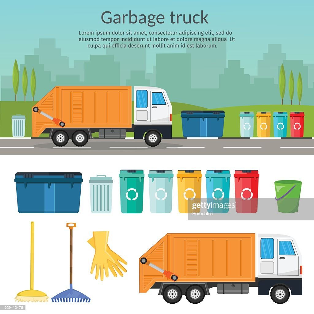 Garbage truck sorting bins recycling concept ship the trash Ecology