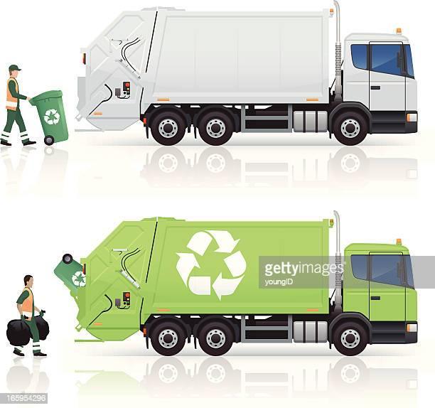 ilustrações de stock, clip art, desenhos animados e ícones de camiões do lixo - gari