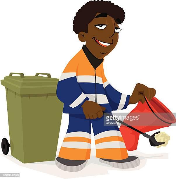 ilustrações de stock, clip art, desenhos animados e ícones de garbageman de trabalho - gari