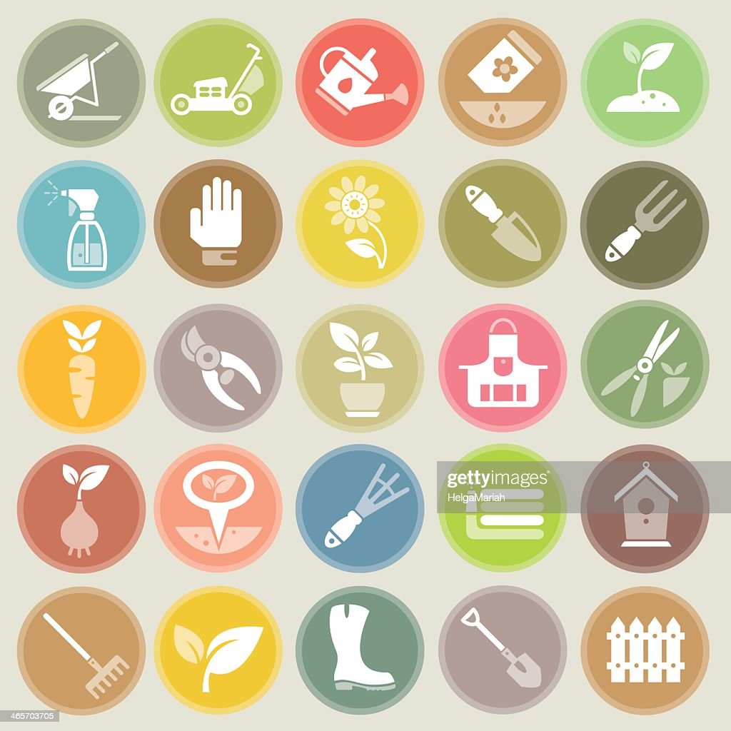 Garden and Gardening Tools Icon Set