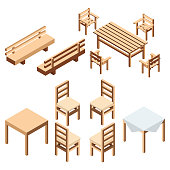 Garden and house furniture. A bench park and chairs with a table from wooden boards for the estate and a country house.